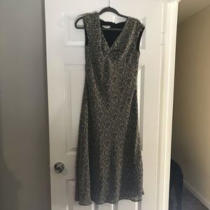 Black and gold printed dress